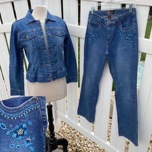 VTG High Rise Jeans Beaded Denim Jean Jacket